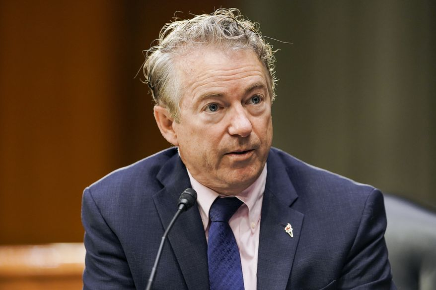 Sen. Rand Paul, R-Ky., is shown here in a hearing on Capitol Hill in Washington, in this Tuesday, March 23, 2021 file photo. (Greg Nash/Pool via AP)  **FILE**