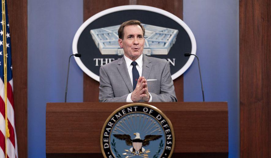 Pentagon spokesman John Kirby speaks during a media briefing at the Pentagon, Tuesday, March 23, 2021, in Washington. (AP Photo/Andrew Harnik)