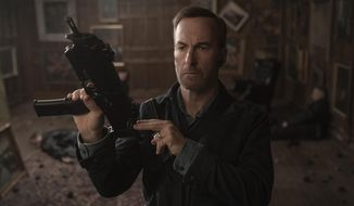 """In this image released by Universal Pictures, Bob Odenkirk appears in a scene from """"Nobody."""" (Allen Fraser/Universal Pictures via AP)"""