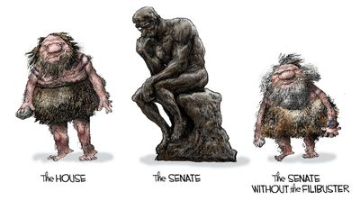 The Senate without the filibuster (Illustration by Michael Ramirez for Creators Syndicate)