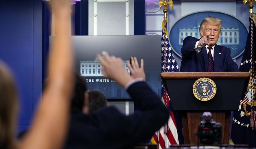 What once was: Then-President Trump faces reporters during a news conference at the White House on Sept. 4, 2020. (Associated Press)
