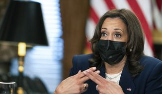 Vice President Kamala Harris convenes a roundtable discussion on Equal Pay Day with women leaders of advocacy organizations at the Eisenhower Executive Office Building on the White House complex in Washington, Wednesday, March 24, 2021. (AP Photo/Manuel Balce Ceneta)