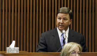 U.S. Rep. Mike Rogers talks as a character witness during former Alabama House Speaker Mike Hubbard ethics trial Friday, July 8, 2016, in Opelika, Ala. (Todd Van Emst/Opelika-Auburn News via AP. Pool) **FILE**