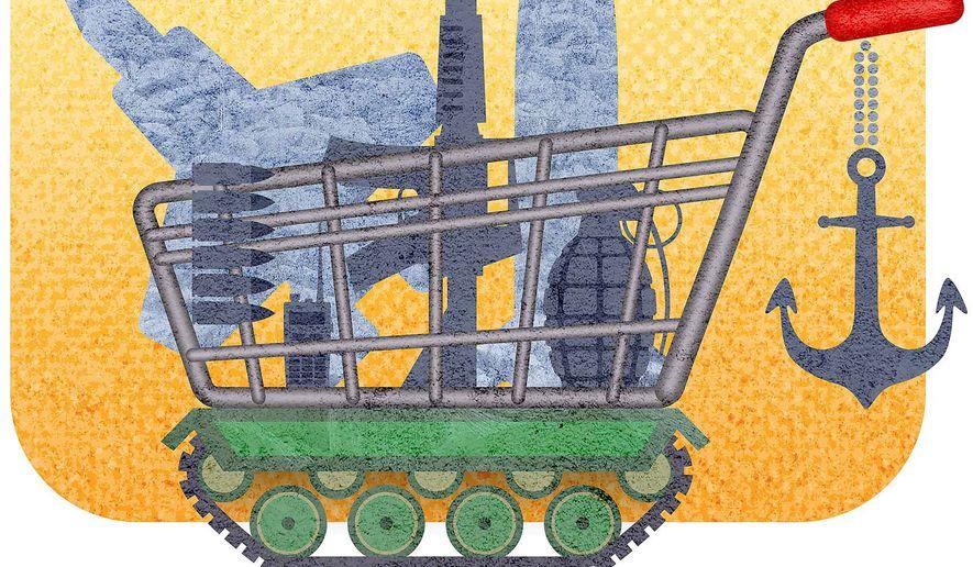 Pentagon Shopping Cart Illustration by Greg Groesch/The Washington Times