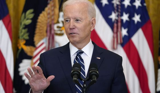 President Joe Biden speaks during a news conference in the East Room of the White House, Thursday, March 25, 2021, in Washington. (AP Photo/Evan Vucci) ** FILE **