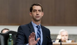 Sen. Tom Cotton, R-Ark., speaks during a hearing to examine United States Special Operations Command and United States Cyber Command in review of the Defense Authorization Request for fiscal year 2022 and the Future Years Defense Program, on Capitol Hill, Thursday, March 25, 2021, in Washington. (AP Photo/Andrew Harnik, Pool)