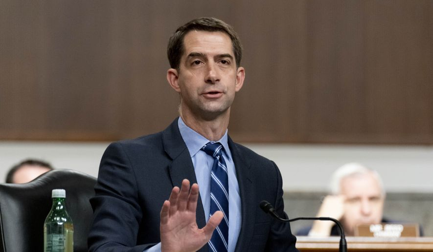 Sen. Tom Cotton, R-Ark., speaks during a hearing to examine United States Special Operations Command and United States Cyber Command in review of the Defense Authorization Request for fiscal year 2022 and the Future Years Defense Program, on Capitol Hill, Thursday, March 25, 2021, in Washington. (AP Photo/Andrew Harnik, Pool) **FILE**