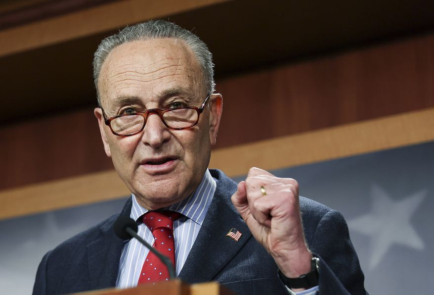 Senate Majority Leader Chuck Schumer of New York,  holds a news conference, Thursday, March 25, 2021 on Capitol Hill in Washington. (Jonathan Ernst/Pool via AP) ** FILE **