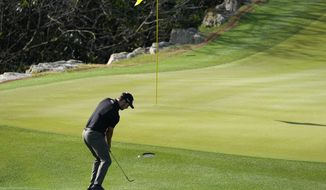 Patrick Cantlay hits his third shot on the second hole during a second round match against Carlos Ortiz of Mexico, at the Dell Technologies Match Play Championship golf tournament Thursday, March 25, 2021, in Austin, Texas. (AP Photo/David J. Phillip)