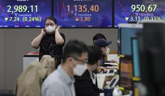 A currency trader passes by screens showing the Korea Composite Stock Price Index (KOSPI), left, and the foreign exchange rate between U.S. dollar and South Korean won, center, at the foreign exchange dealing room of the KEB Hana Bank headquarters in Seoul, South Korea, Thursday, March 25, 2021. Shares advanced in Asia on Thursday after a broad decline on Wall Street led by selling of tech heavyweights like Facebook and Apple. (AP Photo/Ahn Young-joon)