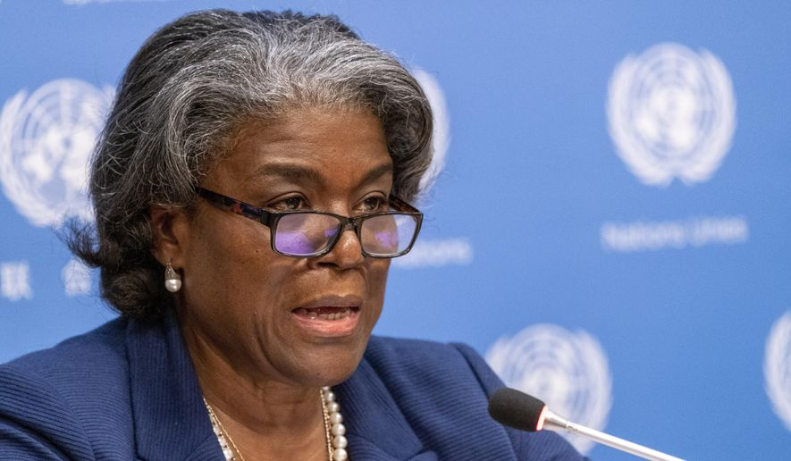 In this March 1, 2021 file photo, U.S. Ambassador to the United Nations, Linda Thomas-Greenfield speaks to reporters during a news conference at United Nations headquarters.   (AP Photo/Mary Altaffer, File) ** FILE **