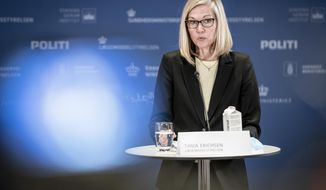 Tanja Erichsen, from the Danish Medicines Agency speaks during a press briefing about the status of the AstraZeneca COVID-19 vaccine , n Copenhagen, Thursday, March 25, 2021. Danish officials have decided to extend their suspension of the AstraZeneca COVID-19 vaccine by three weeks while they continue evaluating the vaccine's potential link with blood clots. Denmark first paused the use of the AstraZeneca vaccine as a precautionary measure on March 11. (Mads Claus Rasmussen/Ritzau Scanpix via AP)