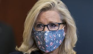 In this Feb. 24, 2021, file photo, Rep. Liz Cheney, R-Wyo., the House Republican Conference chair, joins the other GOP leaders speaking to reporters on Capitol Hill in Washington. (AP Photo/J. Scott Applewhite, File)