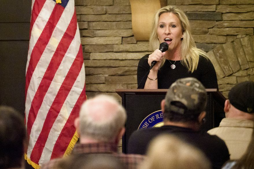 Marjorie Taylor Greene, congresswoman for the 14th District in Georgia, speaks during the Murray County town hall meeting at The Cloer Barn on Wednesday, March 24, 2021, in Chatsworth, Ga. (C.B. Schmelter/Chattanooga Times Free Press via AP) ** FILE **