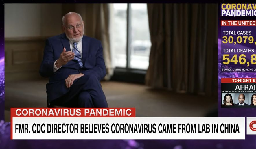 The former director of the Centers for Disease Control and Prevention, Dr. Robert Redfield, talks about the origin of COVID-19 with CNN, March 26, 2021. (Image: CNN video screenshot)