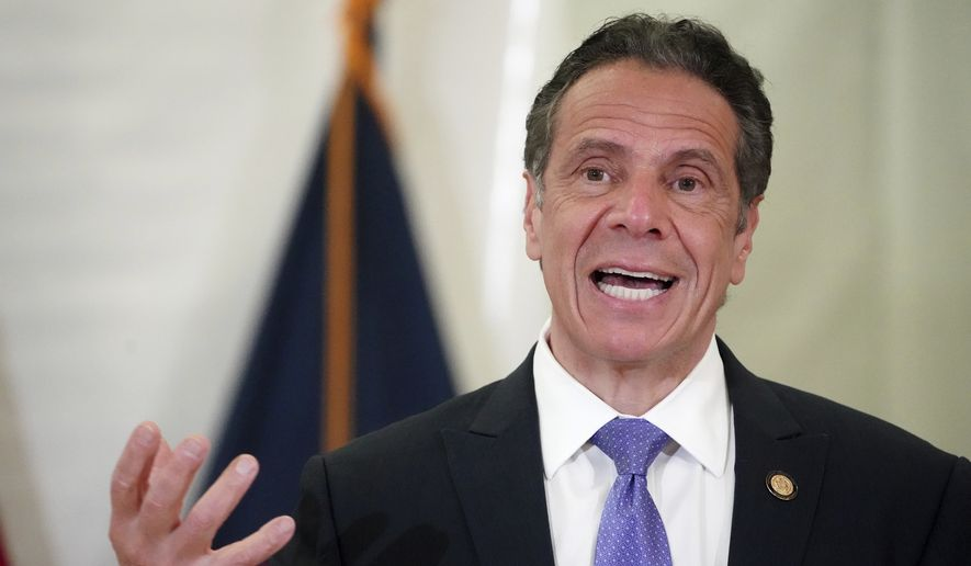 New York Gov. Andrew Cuomo speaks at an event at the new Settlement Community Center in the Bronx borough of New York, Friday, March 26, 2021. (Carlo Allegri/Pool Photo via AP) ** FILE **