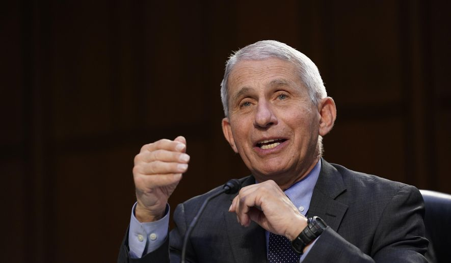 Dr. Anthony Fauci, director of the National Institute of Allergy and Infectious Diseases, testifies during a Senate Health, Education, Labor and Pensions Committee hearing on the federal coronavirus response on Capitol Hill in Washington, Thursday, March 18, 2021. (AP Photo/Susan Walsh, Pool)