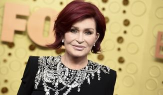 """Sharon Osbourne arrives at the 71st Primetime Emmy Awards on Sept. 22, 2019, in Los Angeles. CBS says Sharon Osbourne will no longer appear on its daytime show """"The Talk"""" after a heated on-air discussion about racism earlier this month. (Photo by Jordan Strauss/Invision/AP, File)  **FILE**"""