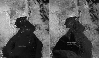 This satellite image provided by The European Space Agency on Friday, March 26, 2021, shows on the left, routine maritime traffic in the Suez Canal with vessels on March 21, 2021 and on the right, maritime traffic backed up on the canal on March 25.  A maritime traffic jam grew to more than 200 vessels outside the Suez Canal and others began changing course as dredgers worked frantically to free a giant container ship that has been stuck sideways in the waterway and disrupted global shipping.  (ESA via AP)
