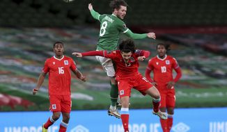 Republic of Ireland's Alan Browne, top, and Luxembourg's Olivier Thill battle for the ball during their World Cup 2022 group A qualifying soccer match between at the Aviva Stadium, Dublin, Saturday, March 27, 2021. (Brian Lawless/PA via AP)