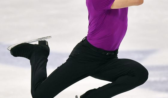 Jason Brown of the USA performs during the Men Free Skating Program at the Figure Skating World Championships in Stockholm, Sweden, Saturday, March 27, 2021. (AP Photo/Martin Meissner)