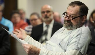 FILE - In this Nov. 15, 2015, file photo, Frazier Glenn Miller Jr. appears in Johnson County District Court in Olathe, Kan. Miller, an avowed anti-Semite who shot three people to death at two suburban Kansas City Jewish sites in 2014 is asking the Kansas Supreme Court to overturnhis death sentence, saying he should not have been allowed to represent himself at trial. The appeal from Miller is scheduled to go before the state Supreme Court on Monday, March 29, 2021. He wasconvictedof one count of capital murder, three counts of attempted murder, and assault and weapons charges in August 2015. (Joe Ledford/The Kansas City Star via AP, Pool, File)