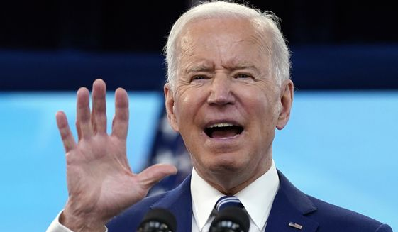 President Joe Biden speaks during an event on COVID-19 vaccinations, in the South Court Auditorium on the White House campus, Monday, March 29, 2021, in Washington. (AP Photo/Evan Vucci)