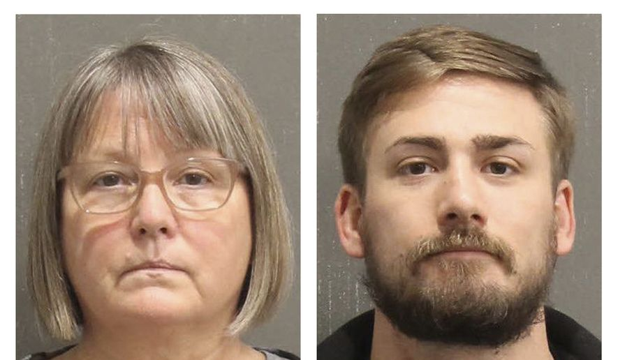 This booking photo released by the Metro Nashville, Tenn., Police Department, shows Lisa Marie Eisenhart, left, and Eric Gavelek Munchel. A federal judge on Monday, March 29, 2021, authorized the release of the Georgia woman and her Tennessee son on charges of involvement in the Jan. 6 riot at the U.S. Capitol. Eisenhart is accused of breaking into the Capitol with her son, Munchel, who was photographed carrying flexible plastic handcuffs in the Senate chamber. (Metro Nashville Police Department via AP) ** FILE **