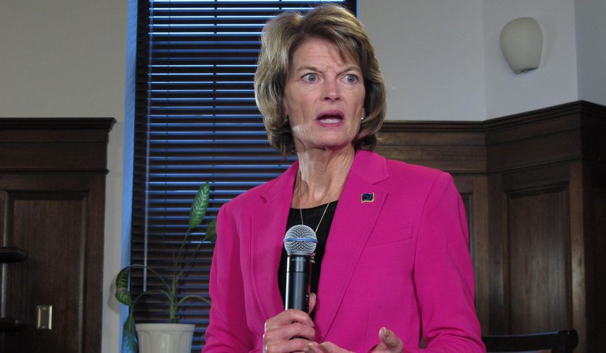 In this Feb. 18, 2020, photo, Sen. Lisa Murkowski speaks with reporters in Juneau, Alaska. Murkowski, a Republican, has not said whether she will seek reelection in 2022, but Alaska Department of Administration Commissioner Kelly Tshibaka announced plans on Monday, March 29, 2021, to enter the race as a Republican. (AP Photo/Becky Bohrer) **FILE**
