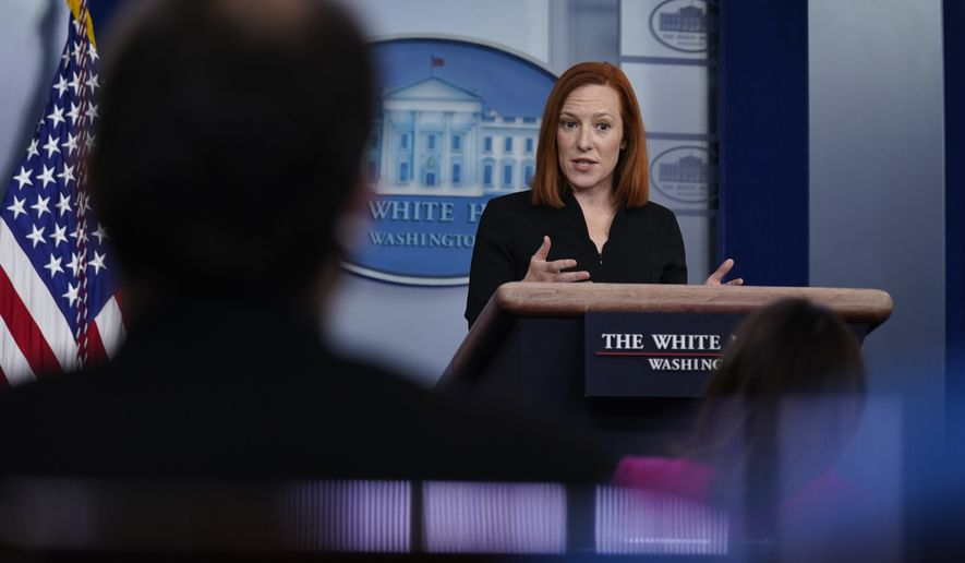 White House press secretary Jen Psaki speaks during a press briefing at the White House, Tuesday, March 30, 2021, in Washington. (AP Photo/Evan Vucci)