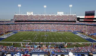FILE - In this Sept. 24, 2017, file photo, fans watch during the second half of an NFL football game between the Buffalo Bills and the Denver Broncos at New Era Field in Orchard Park, N.Y The Buffalo Bills' home has a new name: Highmark Stadium, Tuesday, March 30, 2021. The newly rebranded health insurer, Highmark BlueCross, BlueShield of Western New York, has purchased the naming rights for what was simply known as Bills Stadium last season.  (AP Photo/Jeffrey T. Barnes, File)