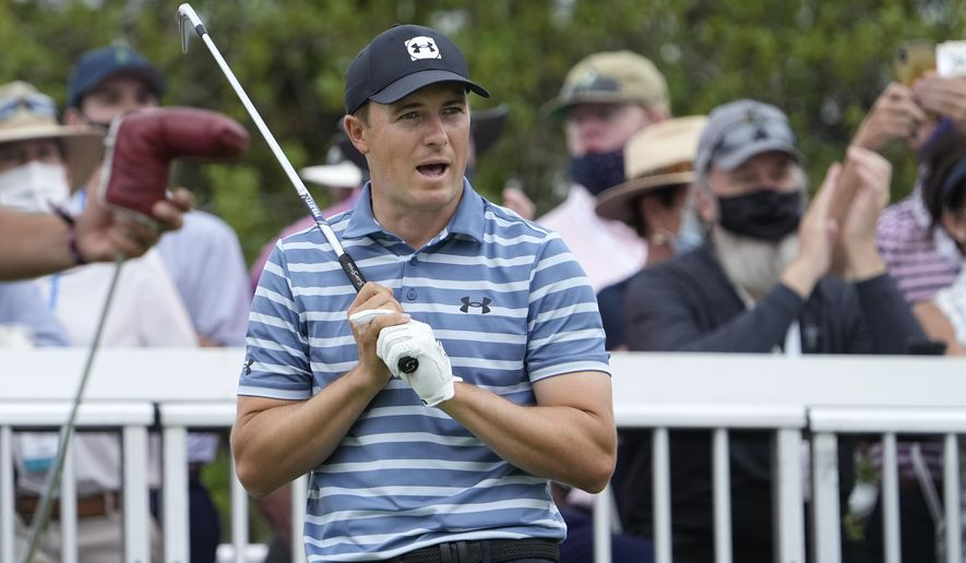 Jordan Spieth watches his drive from the No. 7 tee during a round of 16 match at the Dell Technologies Match Play Championship golf tournament Saturday, March 27, 2021, in Austin, Texas. (AP Photo/David J. Phillip)