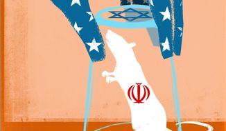 U.S.-Israel Effort Against Iran Illustration by Linas Garsys/The Washington Times