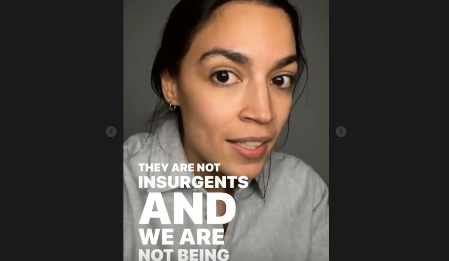 """Screen capture from an Alexandria Ocasio-Cortez Instagram video from March 30, 2021, in which she said it was improper to use the term """"surge"""" to describe the rising number of unaccompanied minors on the U.S. southern border. (Instagram/Alexandria Ocasio-Cortez) [https://www.instagram.com/stories/aoc/2541174007325925777/]"""