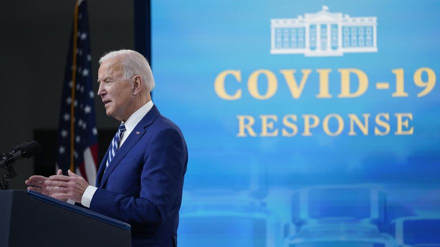 President Joe Biden speaks during an event on COVID-19 vaccinations and the response to the pandemic, in the South Court Auditorium on the White House campus, Monday, March 29, 2021, in Washington. (AP Photo/Evan Vucci)