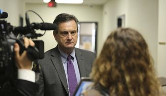 South Carolina Sen. Tom Davis, R-Beaufort, speaks to reporters about a medical marijuana bill he has supported for seven years on Wednesday, March 31, 2021, in Columbia, South Carolina. Davis said he thinks the bill can pass this year. (AP Photo/Jeffrey Collins)