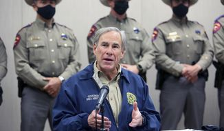 Texas Governor Greg Abbott talks about Operation Lone Star during a press conference Texas Department of Public Safety Weslaco Regional Office on Thursday, April 1, 2021, in Weslaco, Texas. (Joel Martinez/The Monitor via AP)