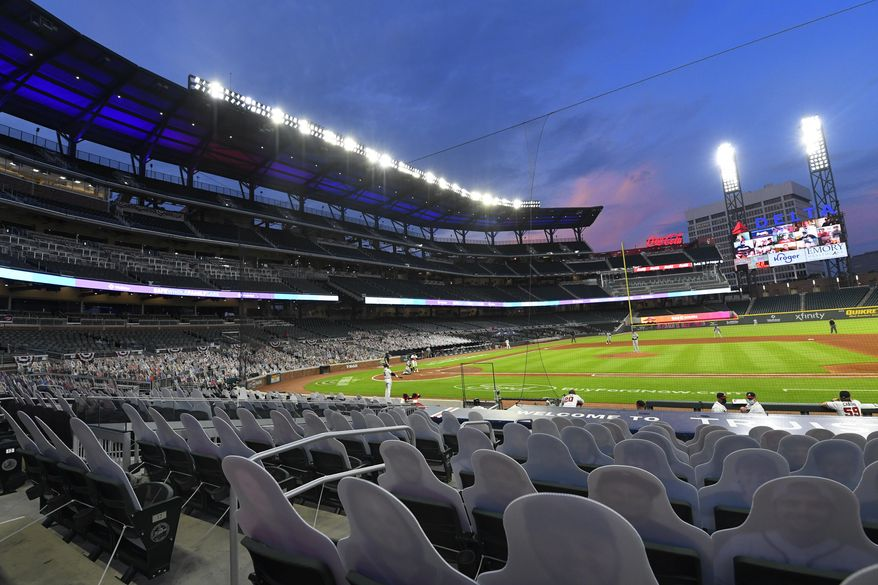 """MLB Commissioner Rob Manfred announced Friday that the 2021 All-Star Game and 2021 draft will be moved out of Atlanta. """"Major League Baseball fundamentally supports voting rights for all Americans and opposes restrictions to the ballot box."""" (AP Photo/John Amis, File)"""