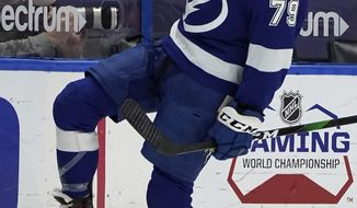 Tampa Bay Lightning left wing Ross Colton (79) celebrates his goal against the Columbus Blue Jackets during the third period of an NHL hockey game Thursday, April 1, 2021, in Tampa, Fla. (AP Photo/Chris O'Meara)