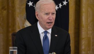 President Joe Biden speaks during a Cabinet meeting in the East Room of the White House, Thursday, April 1, 2021, in Washington. (AP Photo/Evan Vucci)