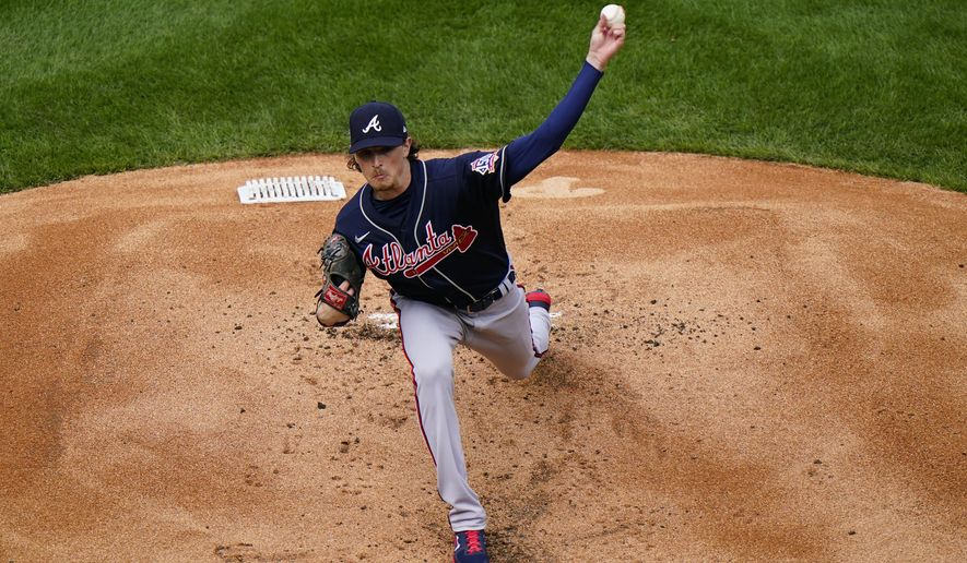 Atlanta Braves' Max Fried pitches during the first inning of an opening day baseball game against the Philadelphia Phillies, Thursday, April 1, 2021, in Philadelphia. (AP Photo/Matt Slocum)