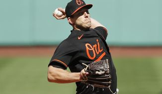 Baltimore Orioles' John Means pitches during the first inning of an opening day baseball game against the Boston Red Sox, Friday, April 2, 2021, in Boston. (AP Photo/Michael Dwyer)