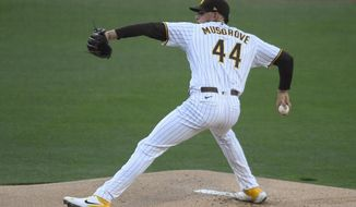 San Diego Padres starting pitcher Joe Musgrove delivers during the first inning of the team's baseball game against the Arizona Diamondbacks on Saturday, April 3, 2021, in San Diego. (AP Photo/Denis Poroy)