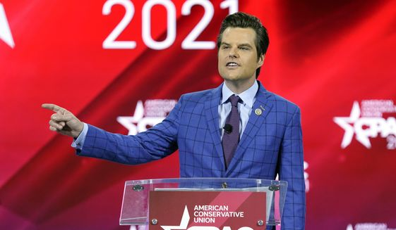 In this Feb. 26, 2021, file photo, Rep. Matt Gaetz, R-Fla., speaks at the Conservative Political Action Conference (CPAC) in Orlando, Fla. (AP Photo/John Raoux) ** FILE **