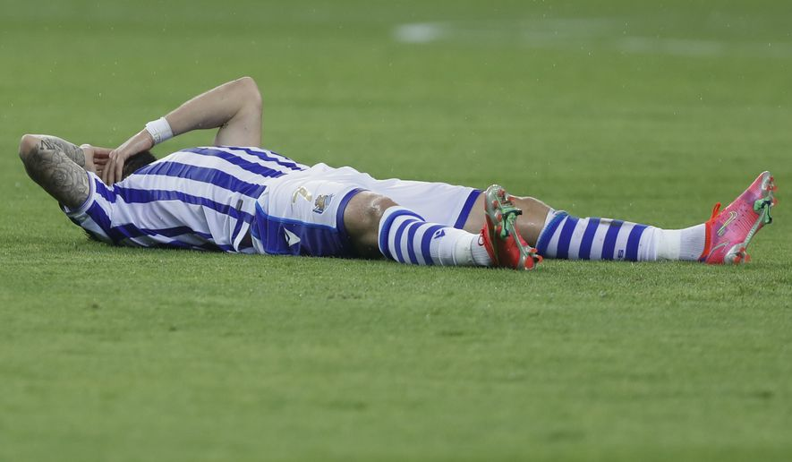 Real Sociedad's Portu reacts during the final of the 2020 Copa del Rey, or King's Cup, soccer match between Athletic Bilbao and Real Sociedad at Estadio de La Cartuja in Sevilla, Spain, Saturday April 3, 2021. The game is the rescheduled final of the 2019-2020 competition which was originally postponed due to the coronavirus pandemic. (AP Photo/Angel Fernandez)