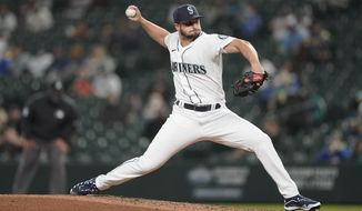 Seattle Mariners relief pitcher Kendall Graveman throws to a San Francisco Giants batter during the sixth inning of a baseball game Saturday, April 3, 2021, in Seattle. (AP Photo/Ted S. Warren)
