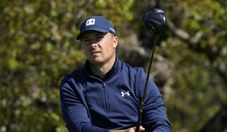 Jordan Spieth watches his drive from the second tee during the first round of the Texas Open golf tournament, Thursday, April 1, 2021, in San Antonio. (AP Photo/Eric Gay) **FILE**