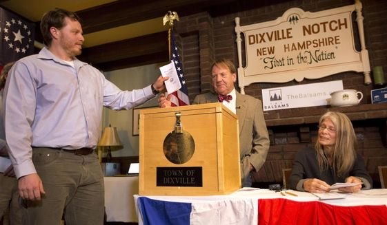 First in the nation vote: A scene from Dixville Notch, New Hampshire on Nov. 8, 2016. State leaders are trying to protect its first voter status. (Associated Press)