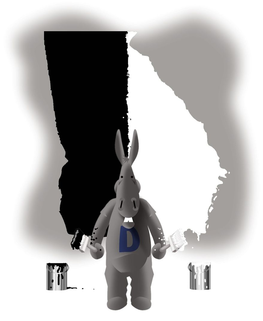 Illustration on Democrat race card tactics re Georgia by Alexander Hunter/The Washington Times