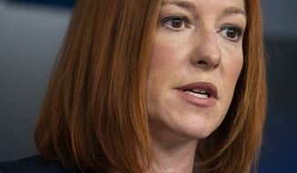White House press secretary Jen Psaki speaks during a press briefing at the White House, Monday, April 5, 2021, in Washington. (AP Photo/Evan Vucci)